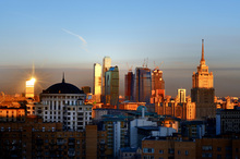 Wall mural - Moscow Skyline at Sunrise
