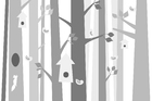 Wall mural - Bird Forest - Grey