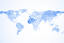 Wall Mural - Blue Hexagon World Map