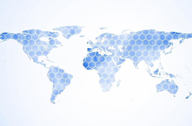 Blue hexagon world map wall mural photo wallpaper for Blue world map mural