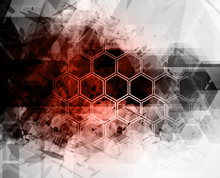 Fototapete - Red Hexagon Background
