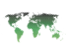 Wall mural - World Map Metal Sheet - Green