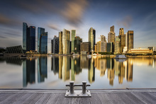 Impression sur toile - Golden Morning in Singapore
