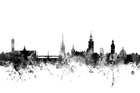 Canvas print - Stockholm Skyline Black