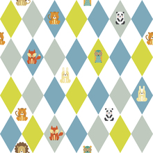Wallpaper - Retro Harlequin green
