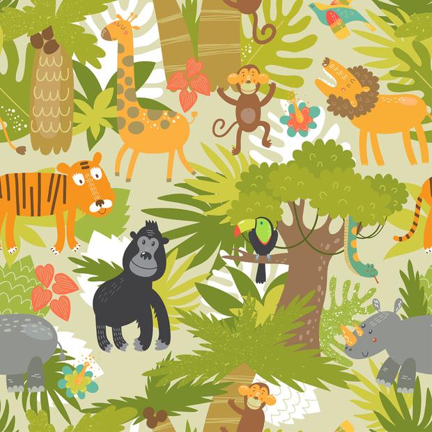 Cute jungle animals wall mural photo wallpaper photowall for Animal mural wallpaper