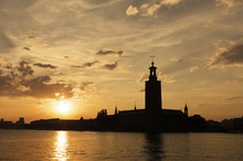 Wall mural - Stockholm City Hall in Silhouette