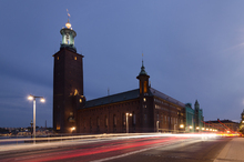 Canvas print - Stockholm City hall Light Streaks