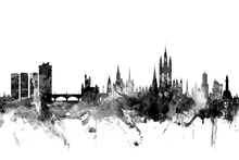 Wall mural - Aberdeen Scotland Skyline Black
