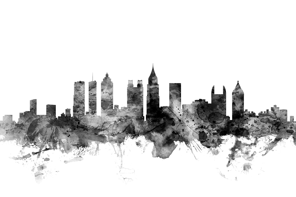 Atlanta Georgia Skyline Black