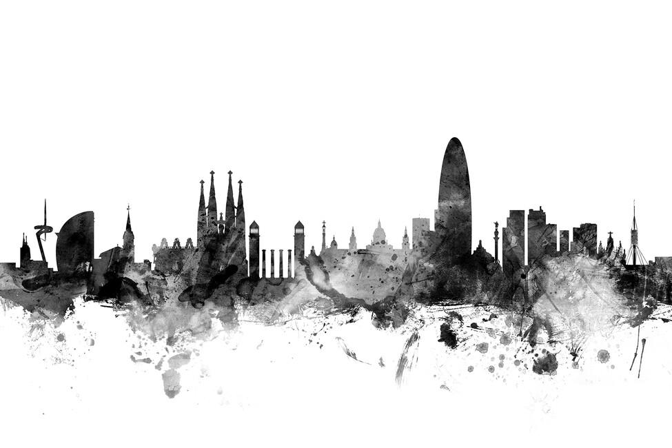 Barcelona Skyline Black - Wall Mural & Photo Wallpaper ...