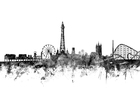 Wall mural - Blackpool UK Skyline Black