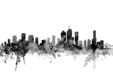 Wall Mural - Brisbane Australia Skyline Black