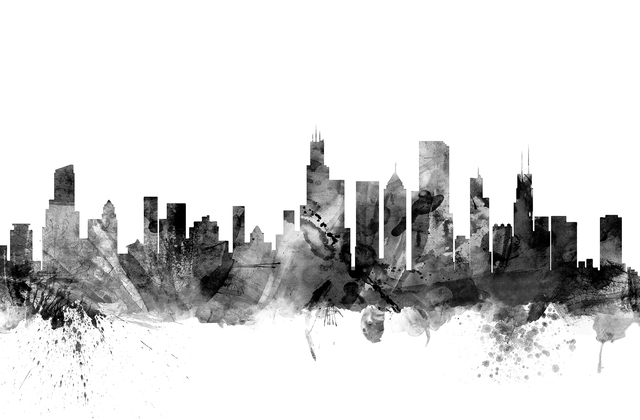 Chicago skyline black wall mural photo wallpaper for Chicago skyline mural wallpaper