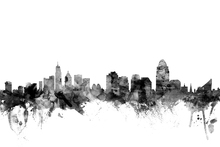 Leinwandbild - Cincinnati Ohio Skyline Black