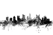 Fotobehang - Columbus Ohio Skyline Black