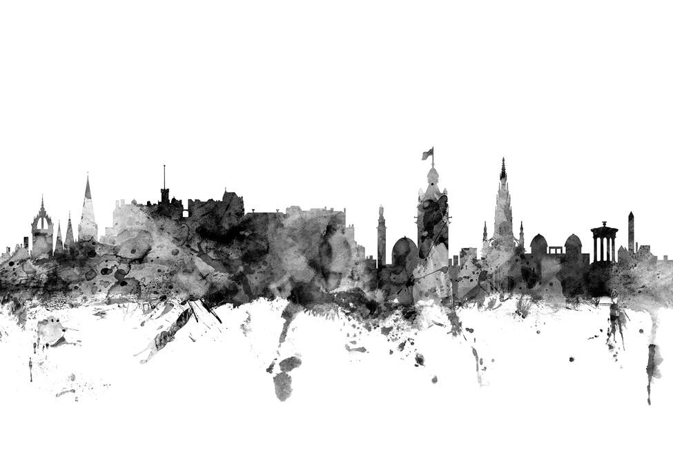 edinburgh scotland skyline black fototapeten tapeten. Black Bedroom Furniture Sets. Home Design Ideas
