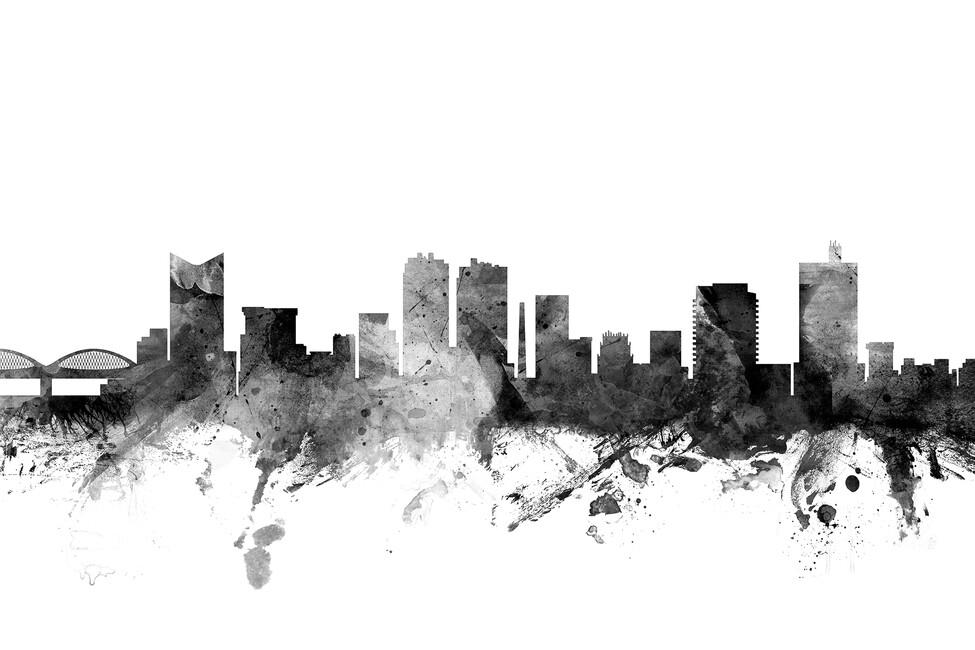 fort worth texas skyline black fototapeten tapeten. Black Bedroom Furniture Sets. Home Design Ideas