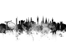Wall mural - Glasgow Scotland Skyline Black