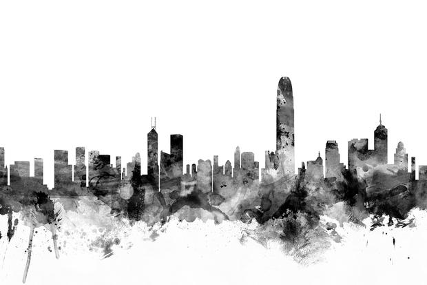 hong kong skyline black fototapeten tapeten photowall. Black Bedroom Furniture Sets. Home Design Ideas