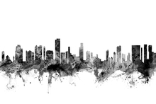 Wall mural - Honolulu Hawaii Skyline Black
