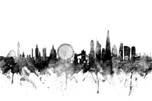 Wall mural - London UK Skyline Black