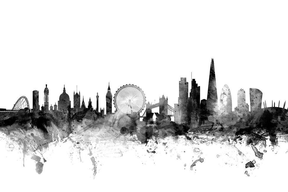 London skyline 2 black wall mural photo wallpaper for Black and white london mural wallpaper