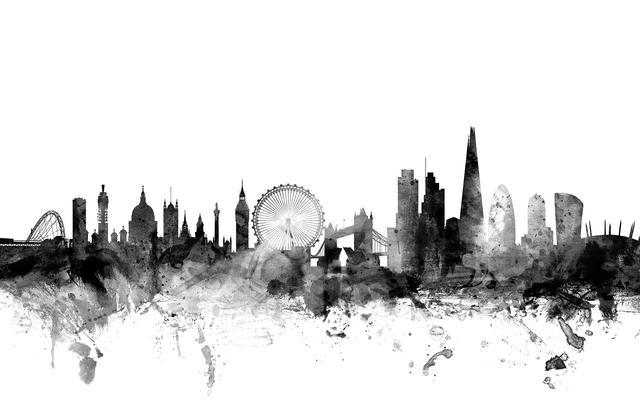 london skyline 2 black fototapeten tapeten photowall. Black Bedroom Furniture Sets. Home Design Ideas