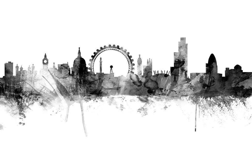 London skyline black wall mural photo wallpaper for Black and white london mural wallpaper