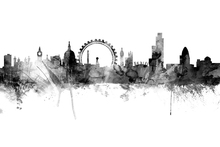 Canvas print - London Skyline Black
