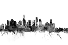 Fototapet - Los Angeles California Skyline Black