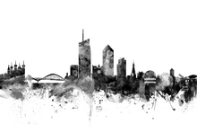 Canvas print - Lyon Skyline Black