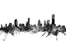 Canvas print - Melbourne Skyline Black
