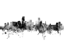 Canvas print - Miami Florida Skyline Black