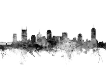 Canvastavla - Nashville Tennessee Skyline Black
