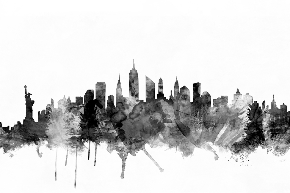 New York City Skyline Black 2
