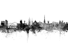 Canvas print - Newcastle UK Skyline Black