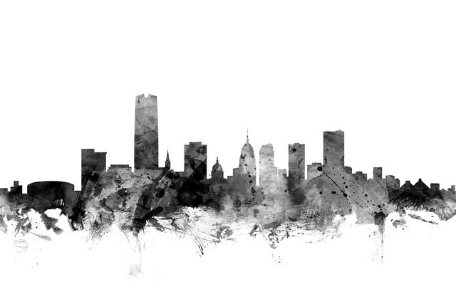 oklahoma city skyline black fototapeten tapeten. Black Bedroom Furniture Sets. Home Design Ideas