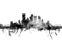 Fototapet - Pittsburgh Pennsylvania Skyline Black