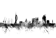 Canvas print - Portsmouth UK Skyline Black