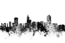 Canvas print - Raleigh North Carolina Skyline Black