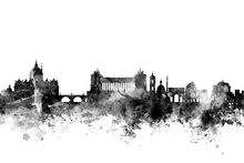 Wall mural - Rome Skyline Black