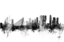Canvas print - Rotterdam Skyline Black