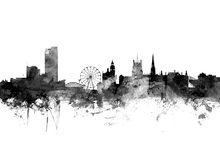 Canvas print - Sheffield UK Skyline Black
