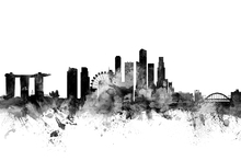 Canvas print - Singapore Skyline Black