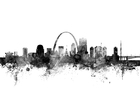 Canvastavla - St Louis Missouri Skyline Black