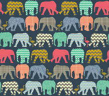 Wallpaper - Baby Elephants and Flamingos 1
