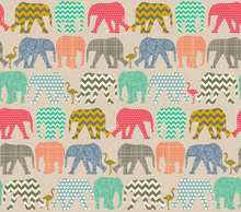 Tapet - Baby Elephants and Flamingos 2