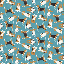 Tapet - Beagle Scatter Blue
