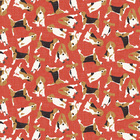 Tapet - Beagle Scatter Red